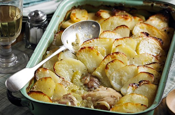 Use leftover chicken from Sunday's roast and mix it in with bacon, herbs and potatoes to make this creamy bake.