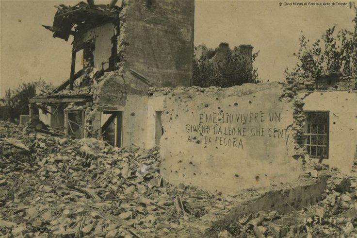 """""""Meglio vivere un giorno da leoni che cent'anni da pecora"""". Celebre frase scritta su un muro di una casa di Fagaré, vicino al Piave"""