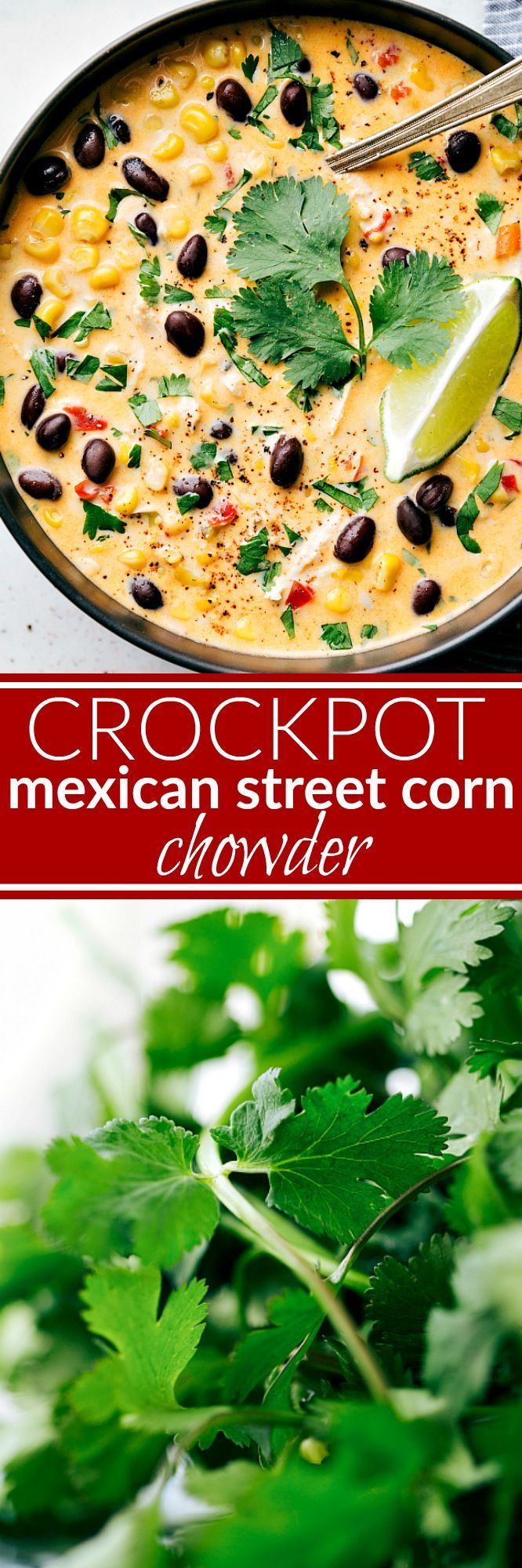 Dump it and forget about it slow cooker meal! A delicious Mexican crockpot chicken and corn chowder that has the same delicious flavors of Mexican Street Corn! A delicious Mexican Chicken Chowder!