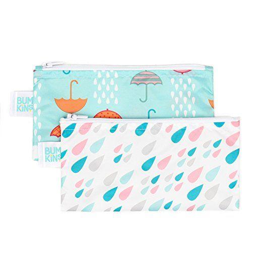 Bumkins Reusable Snack Bag Small 2 Pack, Raindrops & Umbrella (G67)