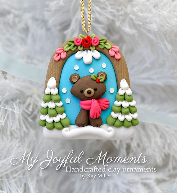 Re-Pin By @siliconem -  Handcrafted Polymer Clay Winter Bear Scene Ornament
