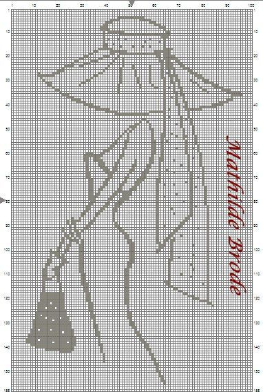 point de croix silhouette de femme- cross-stitch woman's silhouette