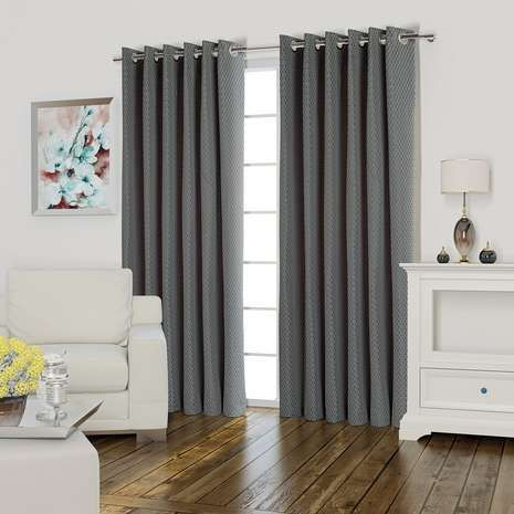 Valencia Silver Lined Eyelet Curtains | Dunelm