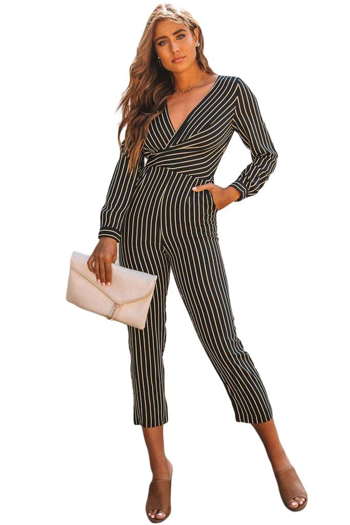 b7a3e82764a Black Striped Wrap Long Sleeve Jumpsuit