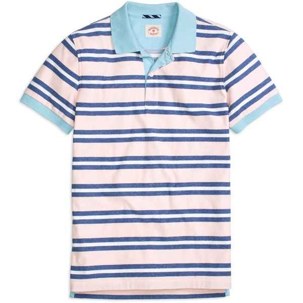 Brooks Brothers Three-Color Stripe Polo Shirt ($60) ❤ liked on Polyvore featuring men's fashion, men's clothing, men's shirts, men's polos, pink, mens pink polo shirt, mens striped polo shirts, mens stripe shirts, mens striped shirt and mens pink striped dress shirt