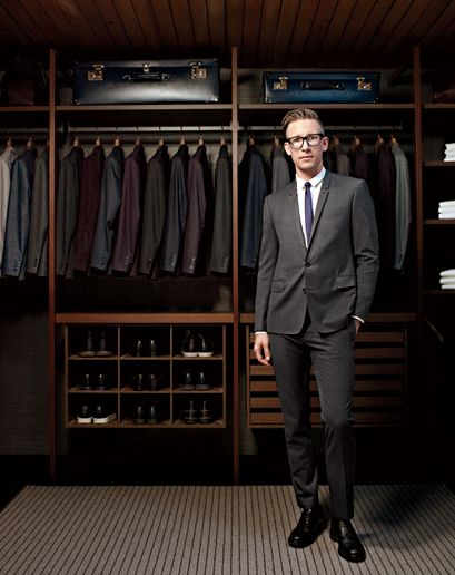 Great closet design, especially the shoe shelves and drawers. Los Angeles based suit designer/tailor, Derek Mattison's home closet.