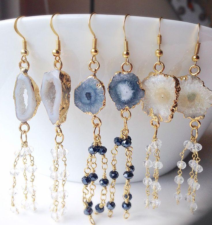 druzy earrings solar quartz geode or agate druzy chandelier earrings with wrapped