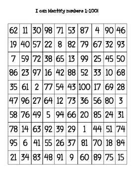 Mixed up number charts including 1-100 and 1-20. Great for assessing students or tracking number recognition! Working on number fluency?  This would make a handy tool!
