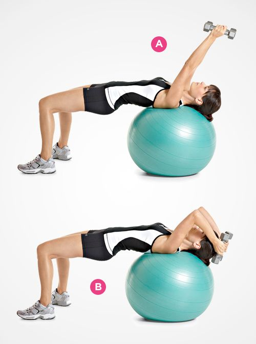 lying triceps extension Grab a pair of dumbbells and lie on your back ...