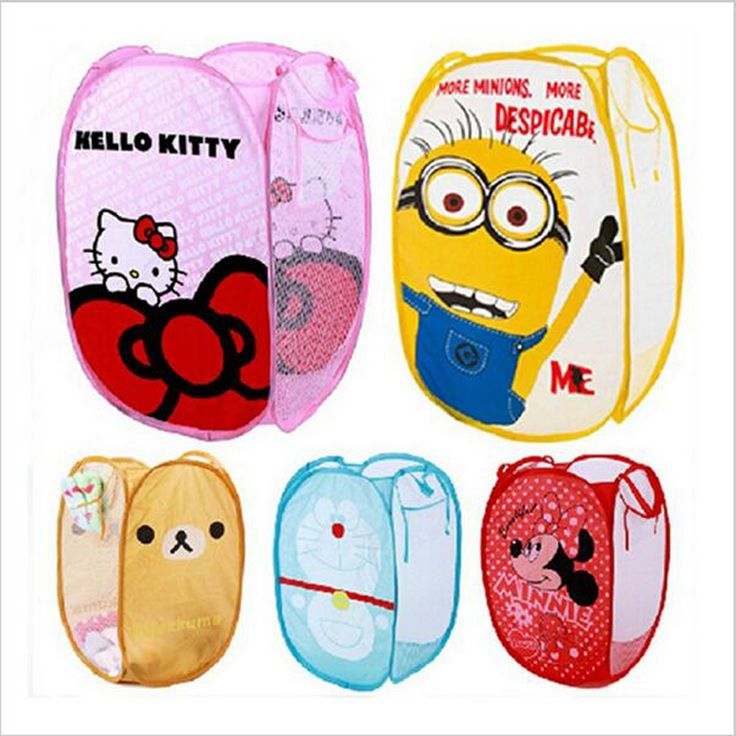 Minions Hello Kitty monkey Folding Dirty Clothing Laundry Storage Basket Children's Toys Shoes Sundries Storage Organizer#S449