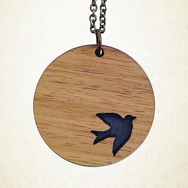 Flying Bird Pendant - Blue   Krinkle
