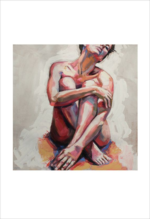 Nude in White, fine art print of original oil painting by Sheila Dunn