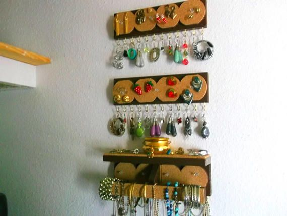 3 Piece Set...Wall Mount Jewelry Hanger Organizer....Ledge...Necklaces...Rings & Bracelets..Hook or Stud Earring Storage..