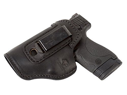 The Defender Leather IWB Holster – Made in USA – For S&W M&P Shield – GLOCK 17 19 22 23 32 33 / Springfield XD & XDS / Plus All Similar Sized Handguns – Black – Left Handed