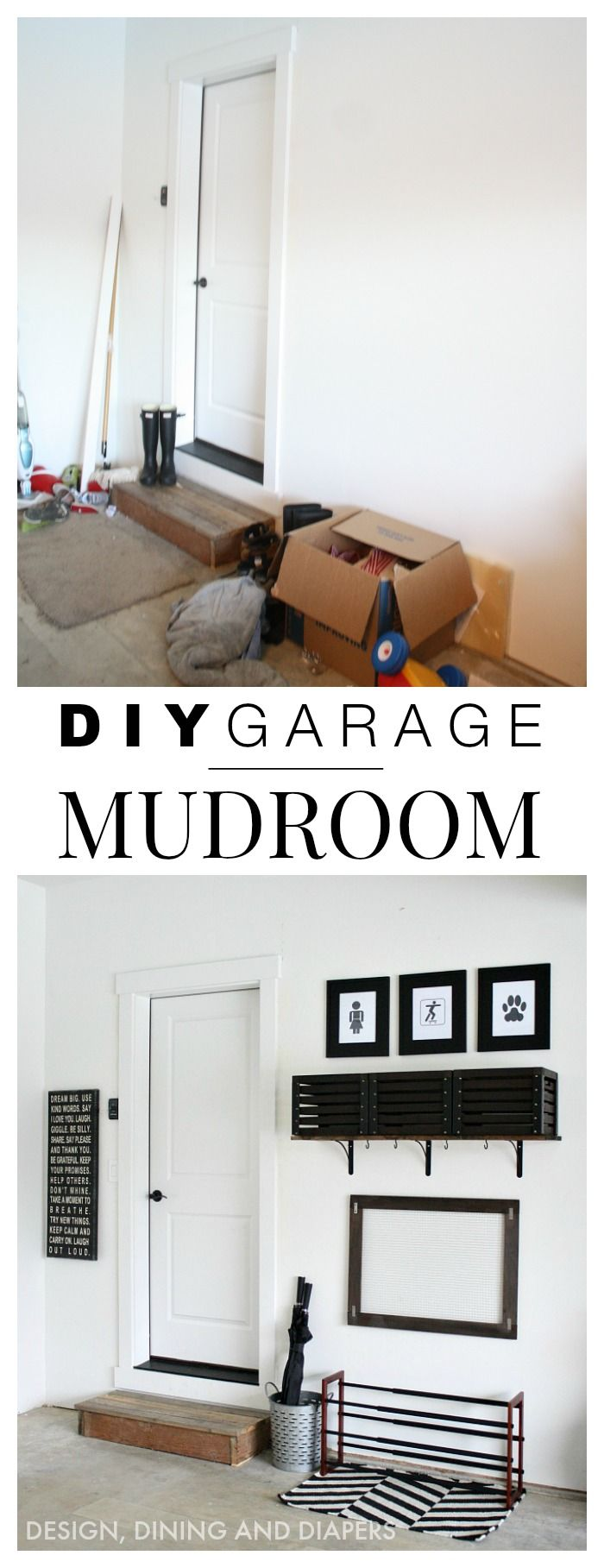 DIY Simple Garage Mudroom. When you don't have a mudroom you can put one in the garage!