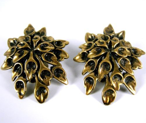 Designer Bronze Ohrclips Finnland 60er 70er Jahre H. Ikonen / P. Sarpaneva +