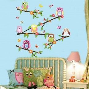Vrolijke uiltjes als muursticker voor boven het bed. Deze muursticker vrolijkt elke meisjeskamer op!