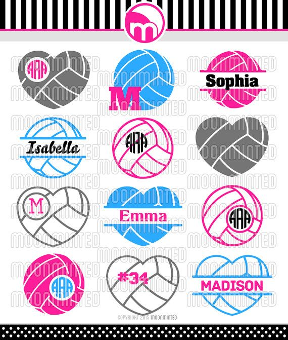 Volleyball SVG Cut Files - Monogram Frames for Vinyl Cutters, Screen Printing, Silhouette, Die Cut Machines, & More