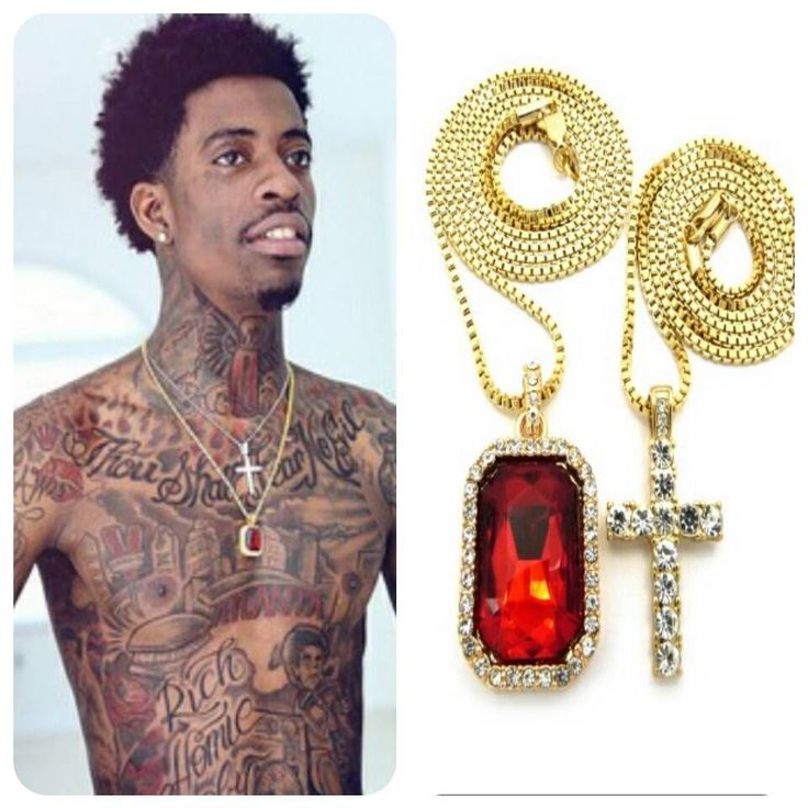 ICED OUT RUBY CROSS PENDANT GOLD CHAIN NECKLACE HIPHOP RICH GANG HOMIE QUAN SQ #Chain