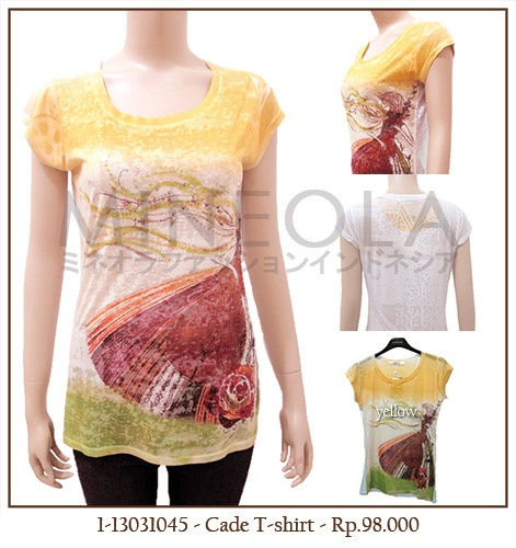 #MINEOLA Cade T-Shirt Yellow. One color only. Get this for only Rp.98.000,-   Fabrics: polyester Product code: 1-13031045 Bust: 90cm - Length: 66cm