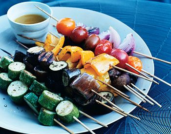 Vegetable Kebabs... The beauty of this recipe is that each type of vegetable is cooked on its own skewer for even grilling. The tangy vinaigrette brings out the natural sweetness in the fresh summer vegetables.