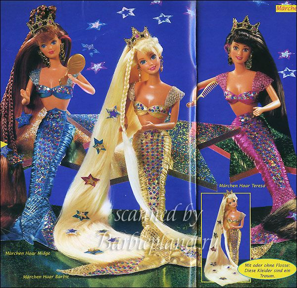 Jewel Hair Mermaid (1995) Barbie, Midge and Teresa