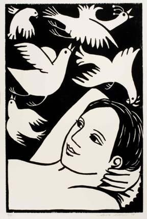 Dreaming of Swooping Birds, Anita Klein woodcut