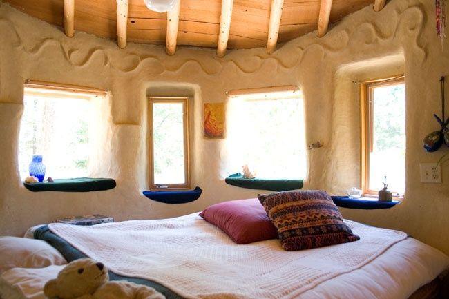 bedroom in cob house