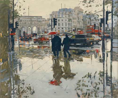 Painting by Ken Howard: Rain Effect, Trafalgar Square, 08