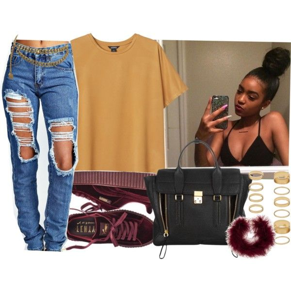 A fashion look from December 2016 featuring Monki t-shirts, Boohoo jeans and 3.1 Phillip Lim tote bags. Browse and shop related looks.
