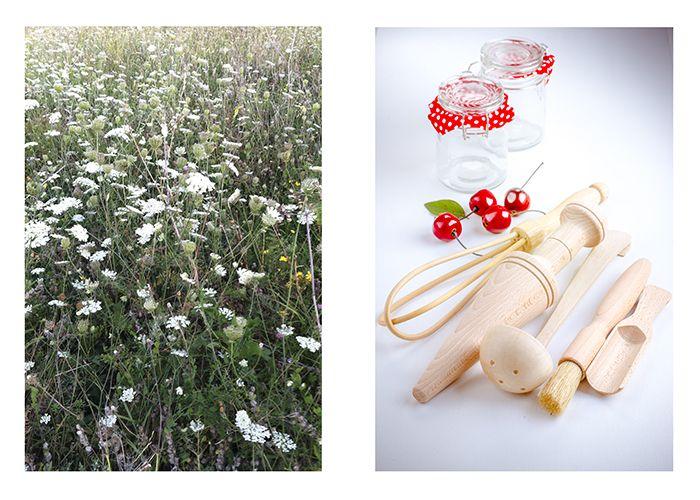 des ustensiles en bois pour une cuisine nature, se sentir comme dans un champs de fleurs