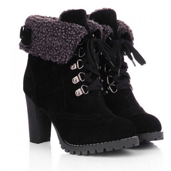 Stylish Chunky Heel and Suede Design High Heel Boots For Women (BLACK,37) in Boots | DressLily.com