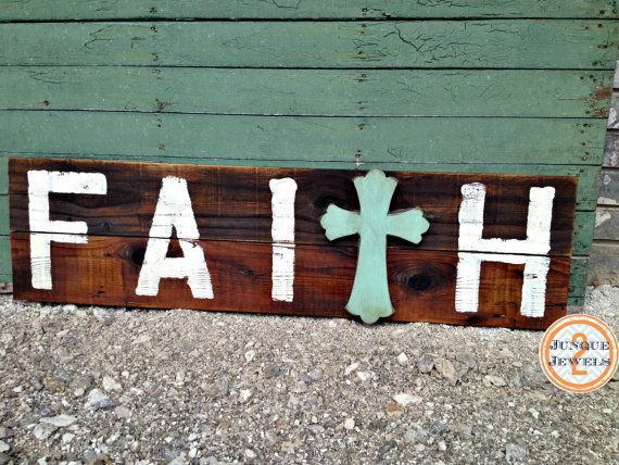 FAITH+Reclaimed+Wood+Sign+Handpainted+by+j2jlocals+on+Etsy,+$48.00