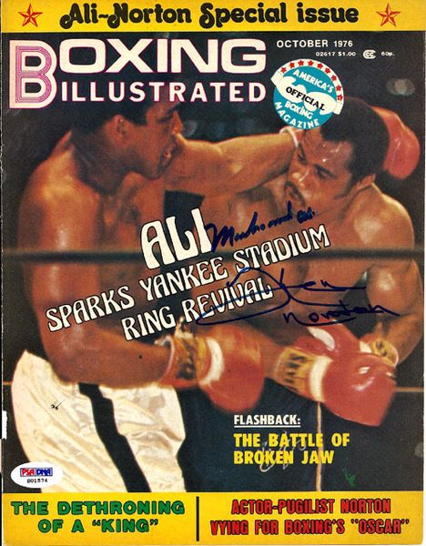 Muhammad Ali & Ken Norton Autographed Boxing Illustrated Magazine Cover PSA/DNA #S01574