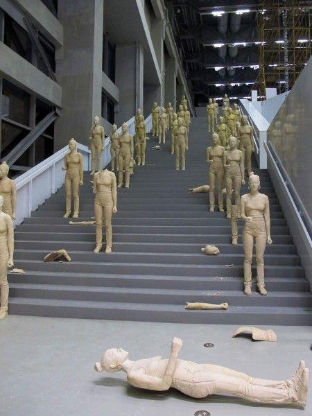 Simon Fujiwara, Rebekkah (2012), one hundred, terra-cotta dyed, life sized, cast plaster female figures, dimensions variable, production pho...