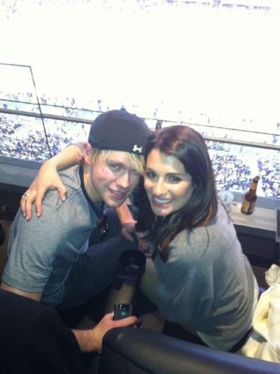 Glee casts Super Bowl Twitpics. Chord Overstreet and Lea Michele who star as Sam Evans and Rachel Berry. Samchel!