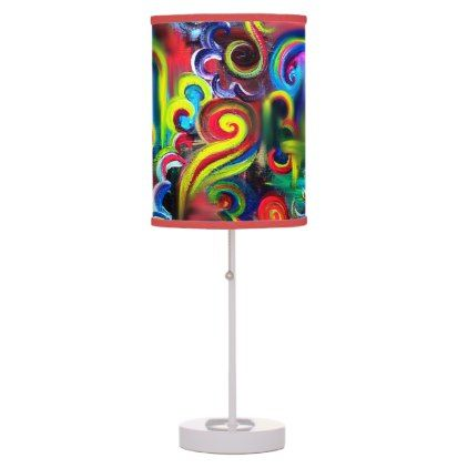 Multicoloured Swirls Table Lamp - pattern sample design template diy cyo customize