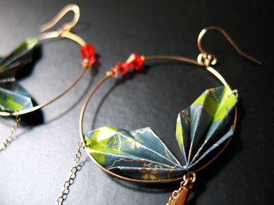 origami leaf hoops - diy