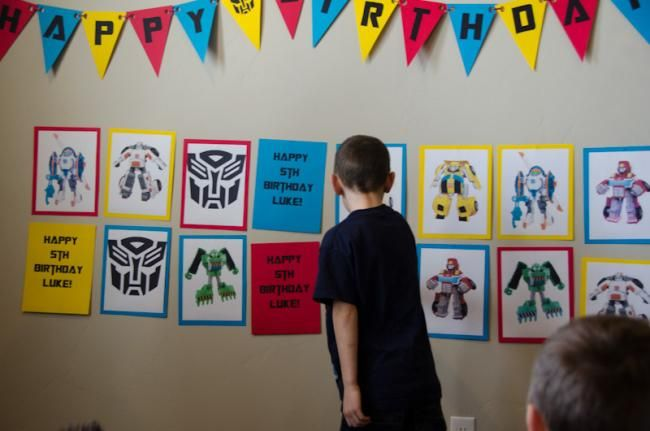 Transformers Birthday Party Matching Game Idea