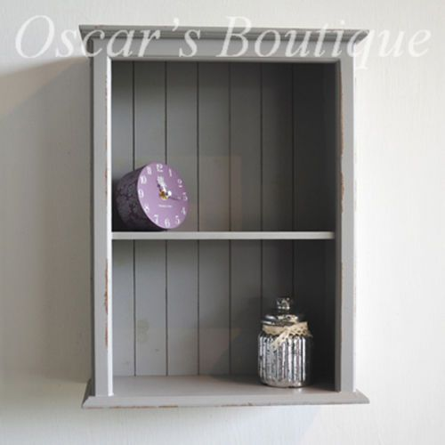 Grey Shabby Chic Rustic Shaker Style Distressed Wall Display Cabinet Shelf  Unit