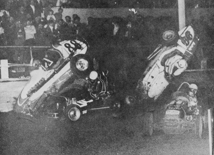 """First turn Showground pile up with Brian Mannion #88 and """"Leadfoot"""" Len Brock #99 upending their racers; Lew Marshall also in the melee. Ray Oram in the Berco on the inside...circa 1966"""