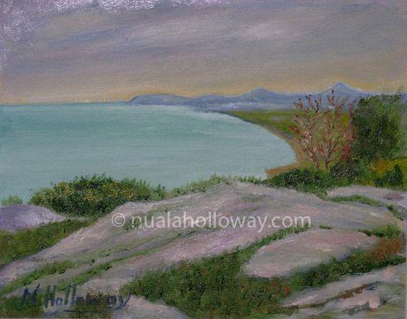 """""""A View From Killiney Hill"""" by Nuala Holloway - Oil on Board #Killiney #IrishArt #Ireland #NualaHolloway #Landscape"""