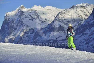 Girl snowboarding