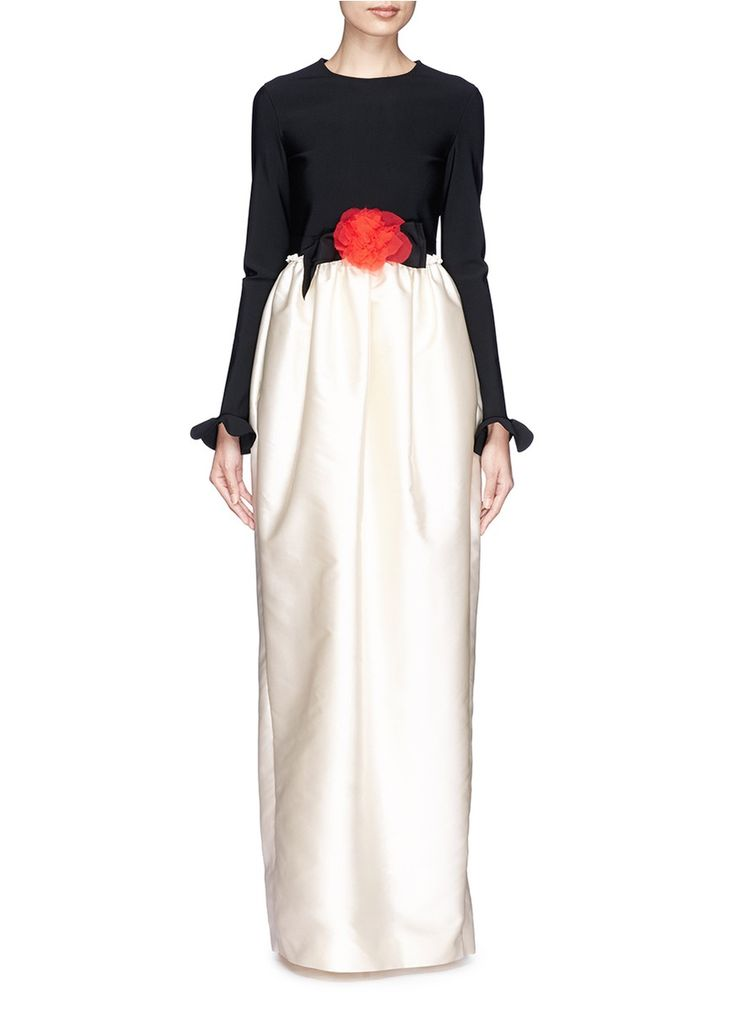 LANVIN Fleur corsage peplum sleeve satin gown
