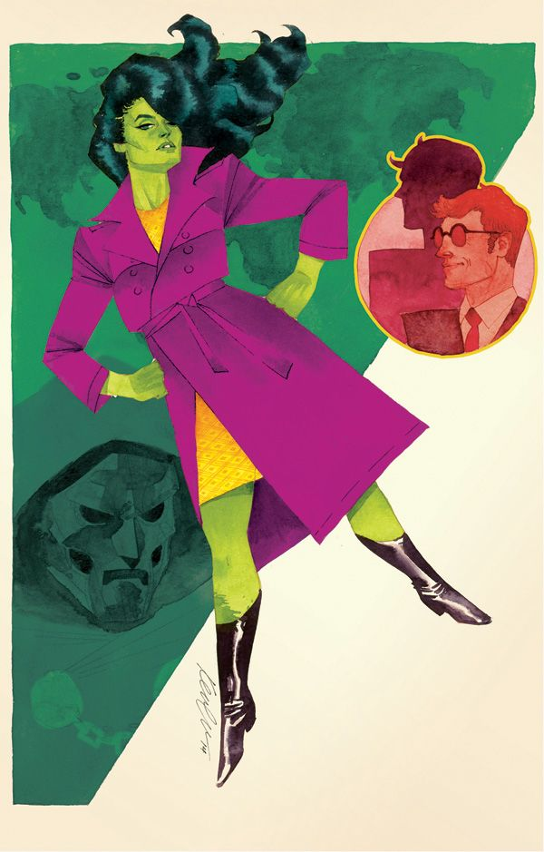 She-Hulk Issue #4 Cover released today! We were going for a mid-century spy movie poster kind of feel, hence the roughness and sharper angles. Different than the rest so far, but hope it's a nice jolt to the system ;). I really hope when they add text to it they continue with the spy poster theme. Cross your fingers everyone!