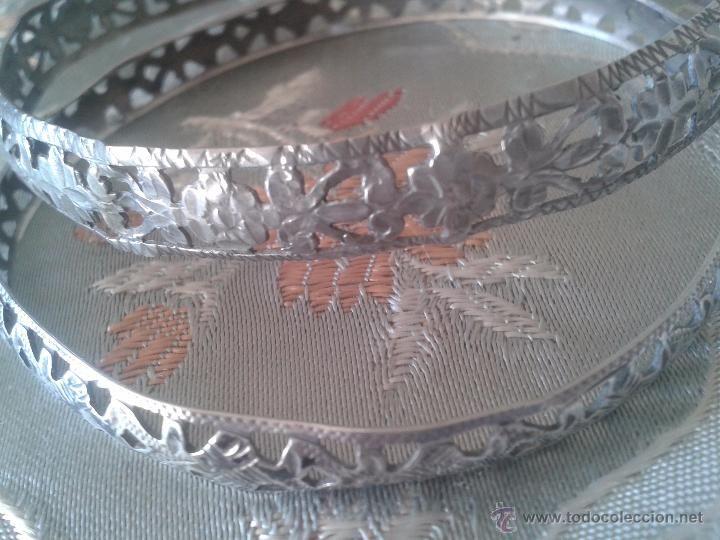 Pareja de pulseras en filigrana de plata - brazalete en plata cincelada-isabelinas- años 30s
