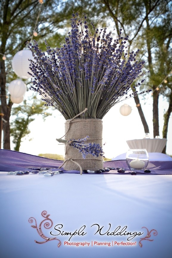 Purple is hot for this simple lavender centerpiece
