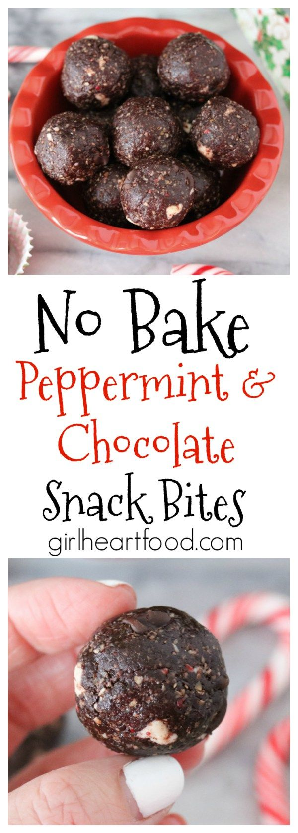 These festive No Bake Peppermint Chocolate Snack Bites require only 10 minutes of prep and taste delicious!  Perfect for gifting! #energybites #peppermint #holidaycookies #christmascookies #chocolate #energyballs
