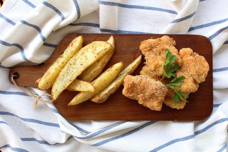 Φουρνιστά Fish & Chips με ελαφριά σως γιαουρτιού