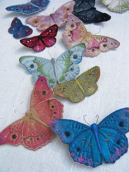 Embroidered and hand painted textile butterflies by Vikki Lafford Garside